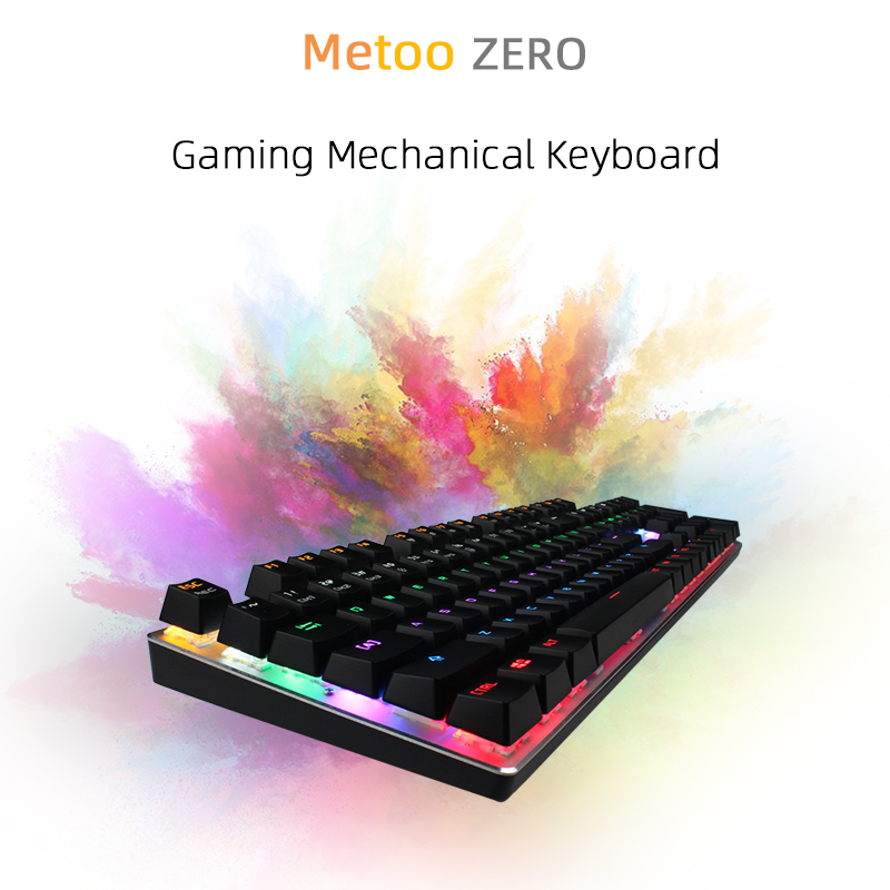 Metoo Mechanical Keyboard 87 Key Anti-ghosting Blue Red Switch LED Backlit Wired Gaming Keyboard Russian For Gamer