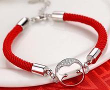 Beobrace 2019 Мода девушка из искусственной кожи браслеты нержавеющей стали для женщин Waven красный животных Веревка Цепи женский ювелирны