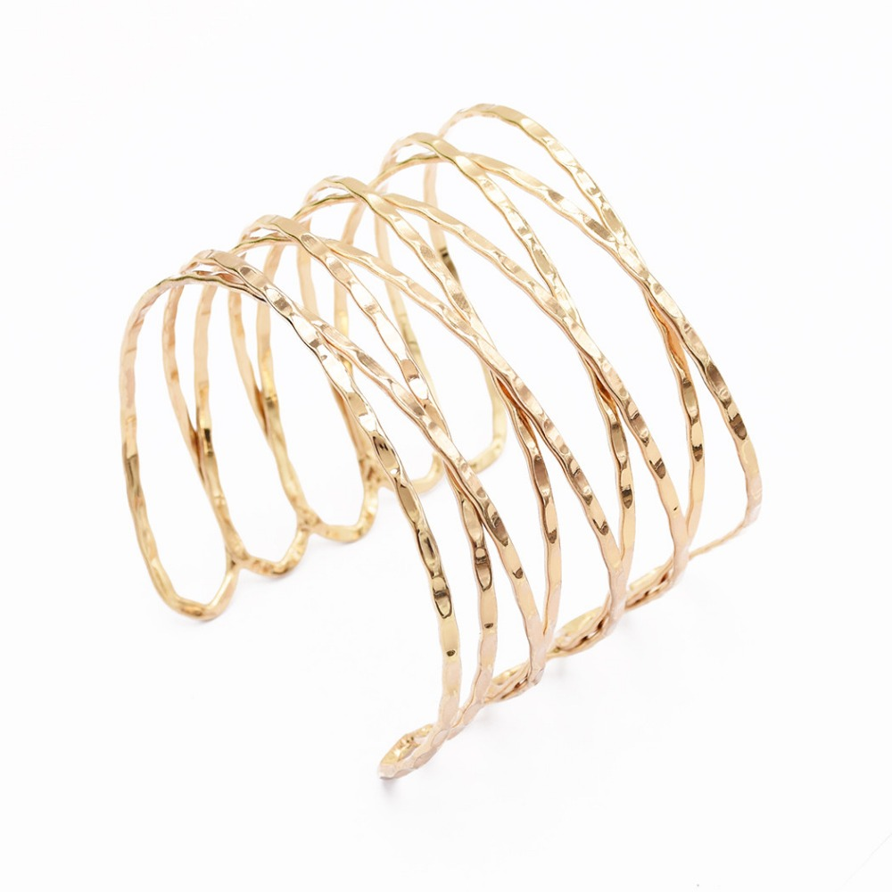 Exaggerate Punk Gold Silver Hollow Wide Cuff Bangles For Women Men Charm Swirl Arm Armlet Bangle/Bracelet/Armband Bijoux Jewelry