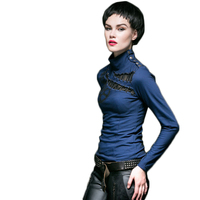 Gothic Punk High Collar Long Sleeve T shirt Slim Fit Women Top Shirt Hollow out Spring Tee Shirts