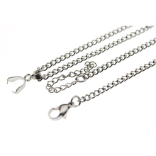 316L Stainless Steel Side Chain Necklace with Pendant Pinch Clip Bails & Extension Chains Gift DIY Jewelry for Woman Fit Pendant