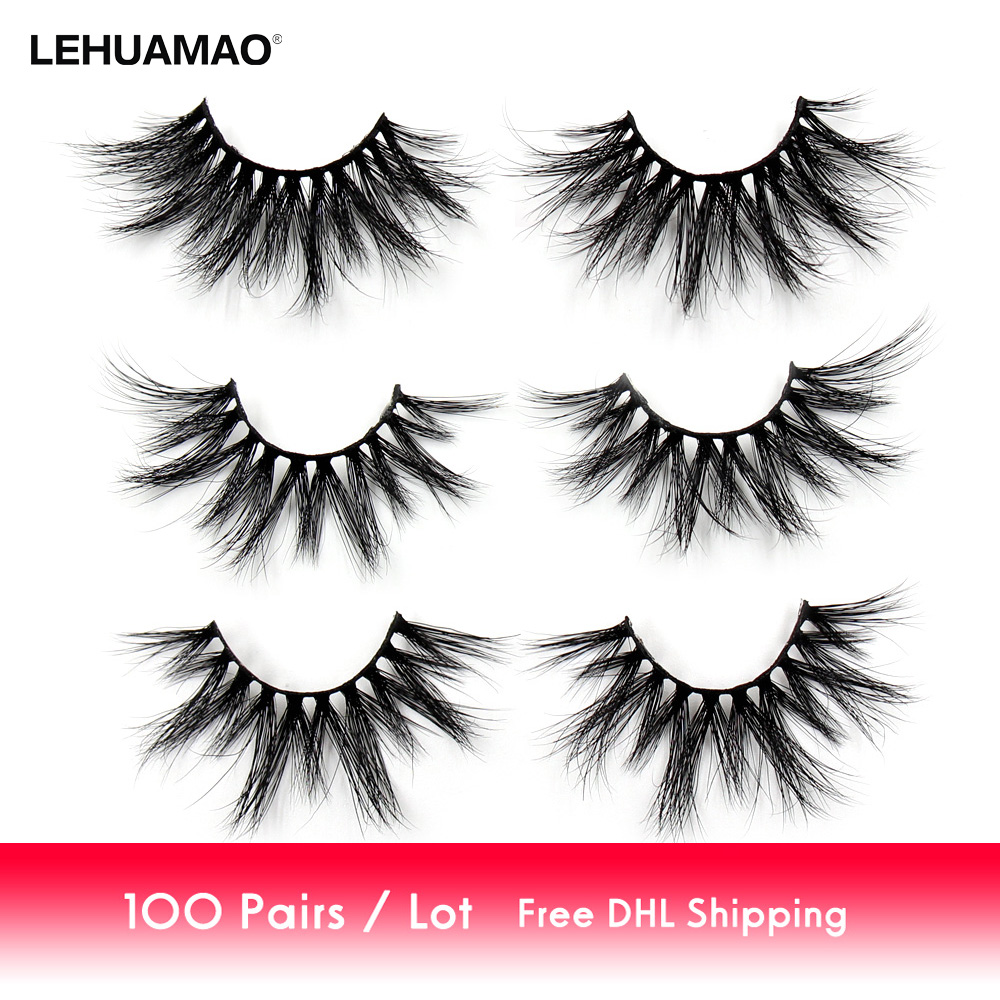 LEHUAMAO 100 Pairs/lot 25mm 5D Mink Eyelashes Fluffy Natural Long Criss-cross Cruelty Free Soft Dramatic Eyelashes