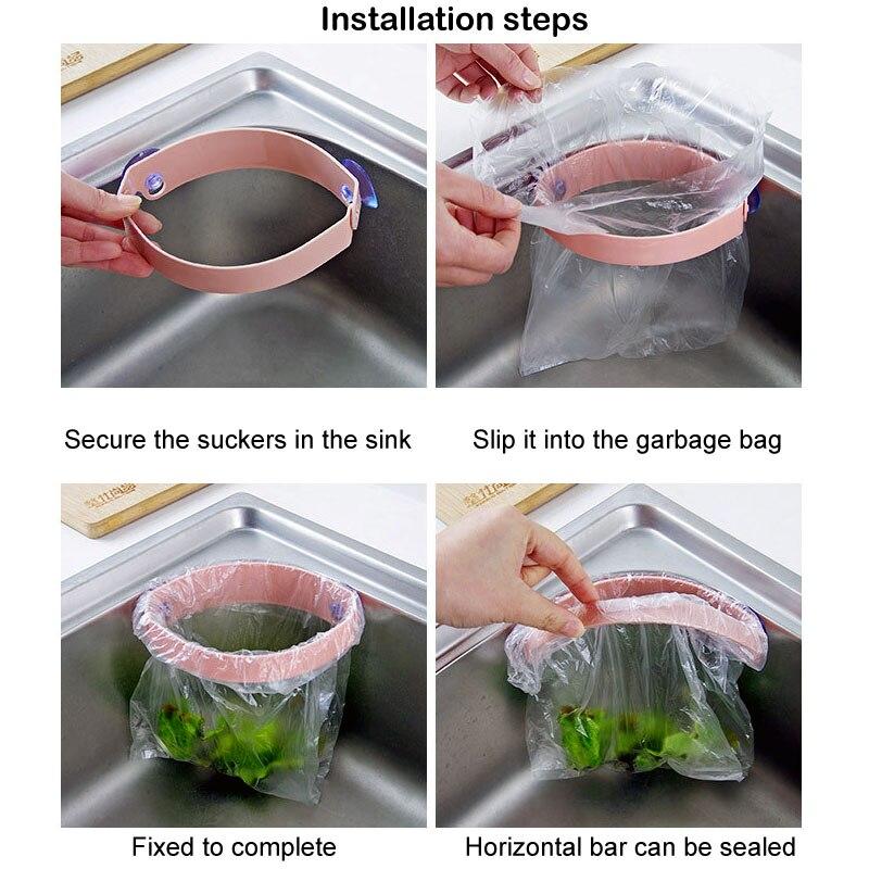 Sucker Type Garbage Bag Holder Kitchen Sink Clip Type Garbage Rack Trash Bags Bin Drainer Kitchen Accessories