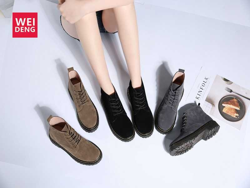 Weideng Women Boots Leather Winter Female Ankle Lace Up Motorcycle Round Short Plush Classic Shoes High Style Overseas Warehouse