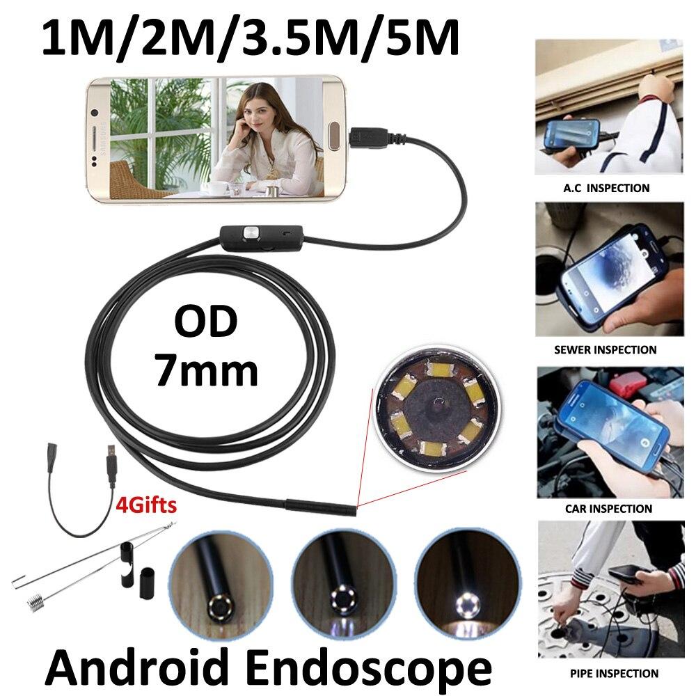 5 m 3.5 m 2 m 1 m Micro USB Android Endoscope Caméra 7mm len Serpent Tuyau Caméra d'inspection Étanche OTG Android USB Endoscopie