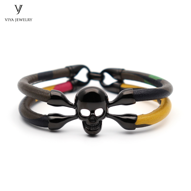 Customize Colorful Camouflage Cow Leather Bracelets Top Layer Cow Leather Skull Bracelet Charming Skull Leather Bracelet For Men charming glaze tube shape bracelet for men