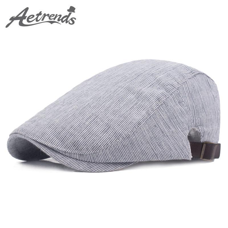 Aetrends  2017 algodón Boinas gorras para hombres vintage rayas retro sombrero  hombre z-5236 4e6b93c446a