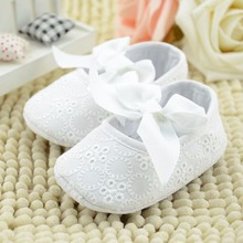 Baby Shoes Newborn White Infant Baby Princess Girls Shoes Soft Sole Bottom Bowknot Shoes Toddler First Walker Slippers 0-18M