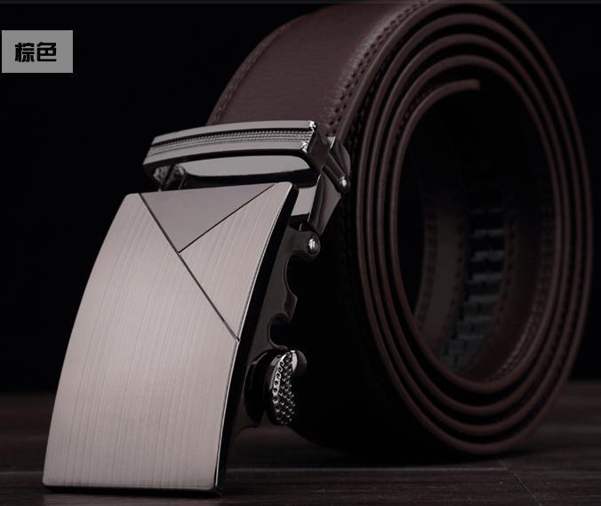 Ремни из нержавеющей стали Автоматическая пряжка Мужская мода Повседневная Кожа Сплав пряжка на ремень Автоматическая 122914 - Цвет: Коричневый