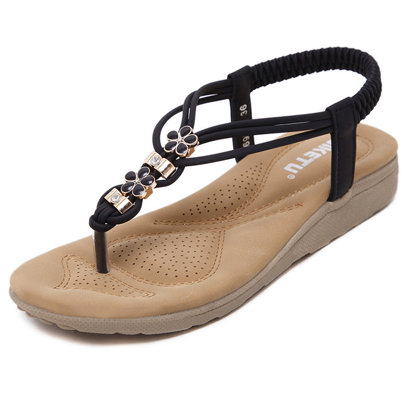 SIKETU Women Summer Wedges Sandals Beaded Shoes Women Fashion Sandal New Casual Foreign Trade Large Size Beach Cool Wearing Shoe