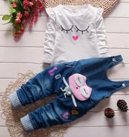 2018赤ちゃんの女の子服セット秋のデニムオーバーオールのため赤ちゃんの女の子tシャツ+パンツスリングキッズジーンズ女の子ベビー服QHQ014
