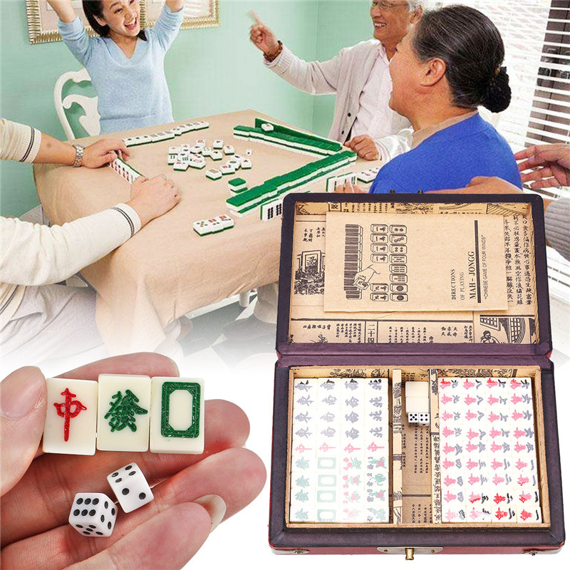 Portable Chinese MahJong Retro Mah Jong Set Card Games 144 Tiles Mini Rare Game Entertainment Family Games With Box Party Gifts
