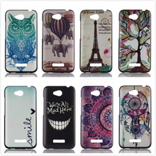 Fashion Colorful Flower Cartoon Owl 3D Painted Plastic Hard Back Cover for HTC Desire 616 Dual