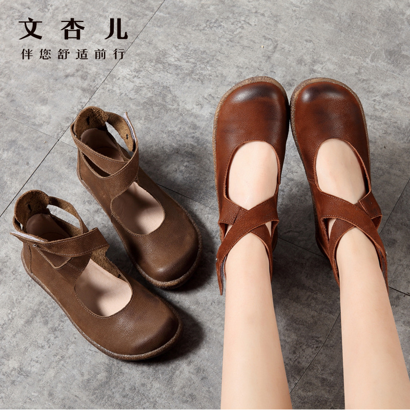 Women's Vulcanize Shoes Hook Loop Buckle Ankle strap Women Real Leather flats Casual Female Driving Ballet Footwear