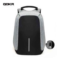 QOKR Usb Charge Anti Theft Backpack Men Business Travel Backpack Waterproof Male 15 6 Inch Laptop