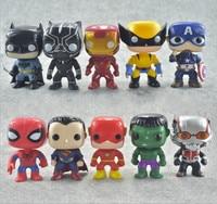10cm Model Dolls Avengers Action Figures Superman Spiderman Hulk Collection Christmas Gift Toys for Children Kids Home Car Decor
