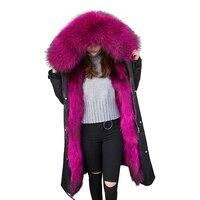 Waterproof Parka Real Fur Coat Winter Jacket Women Natural Raccoon Fur Collar Hood Fox Fur Liner Thick Warm Outerwear Detachable