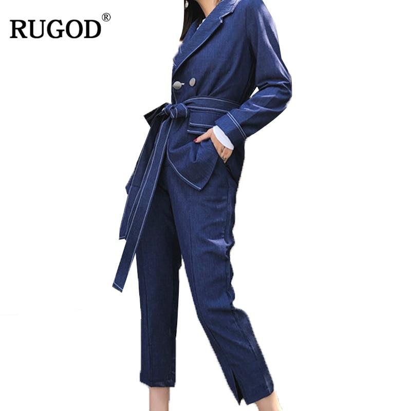 RUGOD 2018 nouveau bureau dame deux pièces ensemble Business pantalon costume femmes élégant ceinture Blazer veste + cheville longueur pantalon survêtements