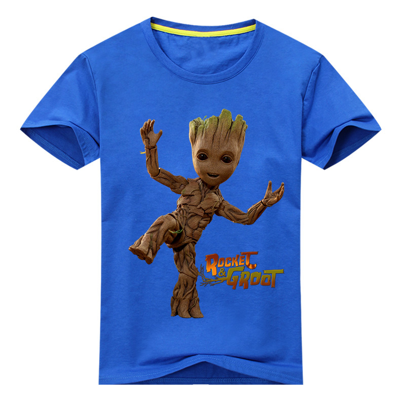 все цены на Children New Summer Casual White Tee Tops Clothes For Baby Groot Print Tshirt Boy Girls T-shirt Kids 3D T Shirts Clothing DX040