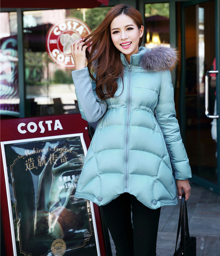 Clearance women 2017 winter fashion duck down overcoat female lady warm jacket parkas with real fur hood sky blue black red xxl