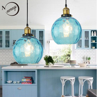Retro Loft Blue Color Glass Pendant Light LED E27 ModernNordic Hanging Lamp With 3 Size For