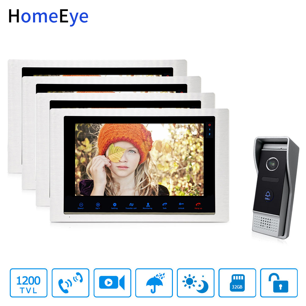 HomeEye 10inch Video Doorbell Video Intercom Motion Detection OSD Menu Touch Button 1-4 Security Access System 1200TVL Rainproof