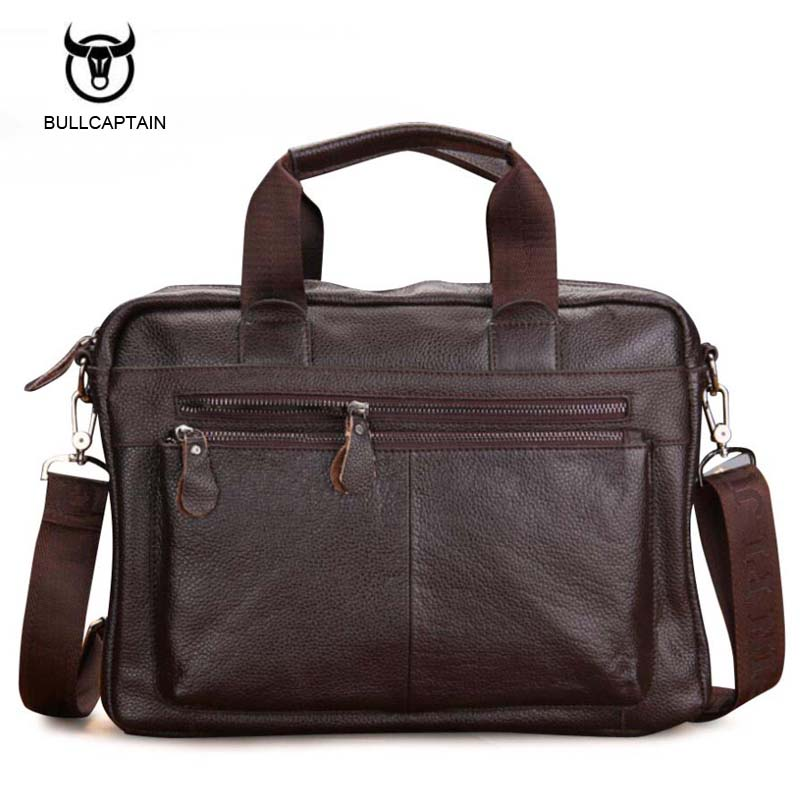 2018 New Fashion Genuine Leather Men Bag Famous Brand Shoulder Bag Messenger Bags Causal Handbag Laptop Briefcase Male baseus little devil case for iphone 7 plus black