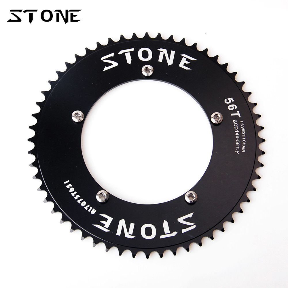 Stone Fixed Gear Chainring BCD 144mm Fixie Road Track Bike Chain Ring Chainwheel 144 PCD Chainrings 42t - 60T fouriers cross chainring system a7075 alloy cross country road bike chain ring chainwheel road bikes parts pcd 110mm 38t 40t 42t