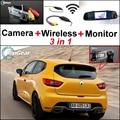 3 in1 Especial Câmera de Visão Traseira Sem Fio + Receptor + Espelho monitorar Back Up Sistema De Estacionamento Para Renault Clio 3 4 Lutecia