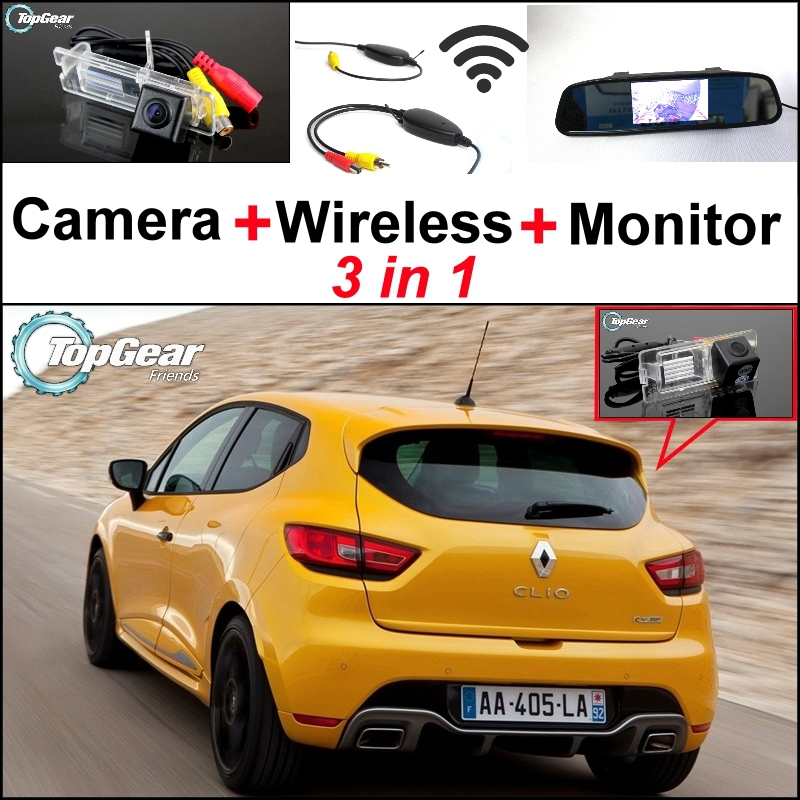 3 in1 Special Rear View Camera + Wireless Receiver + Mirror Monitor Back Up Parking System For Renault Clio 3 4 Lutecia for ford escape maverick mariner car parking sensors rear view back up camera 2 in 1 visual alarm parking system