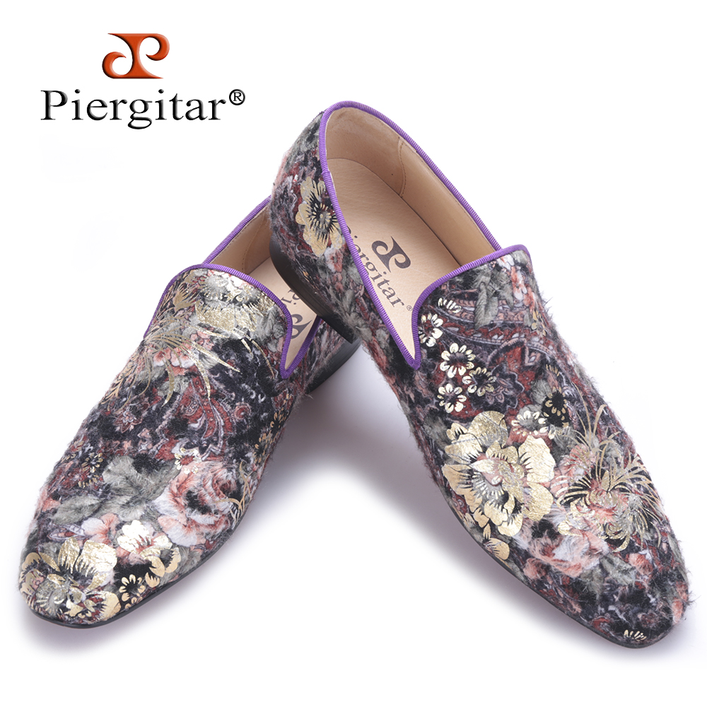 Piergitar 2017 new men handmade flats shoes with Flower velvet printing Party and Wedding men dress shoes big size male loafers