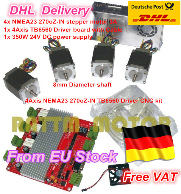 EU.RU 4 Axis CNC controller kit 4pcs NEMA23 stepper motor 270 oz-in 3A & 4 Axis TB6560 Driver board & 350W 24V power supply