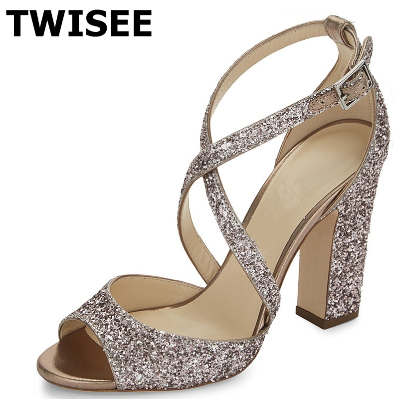 women shoes high heel zapatos mujer Sandals sapatos femininos square heels 10 cm woman party shoes bling silver mazarine