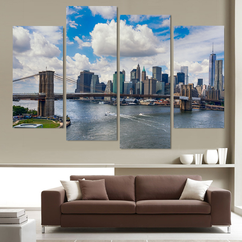 New York City Modern Canvas Painting Print Picture Home: 4 Panel New York Landscape Large HD Picture Modern Home