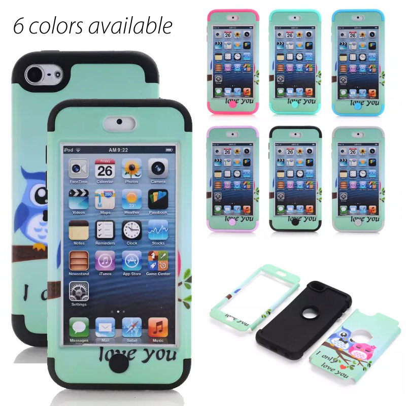 10pcs/lot.Cute owls cartoon Full-body Heavy Duty Rugged Scratch Proof Shock hard Case cover for ipod touch 6/touch 5