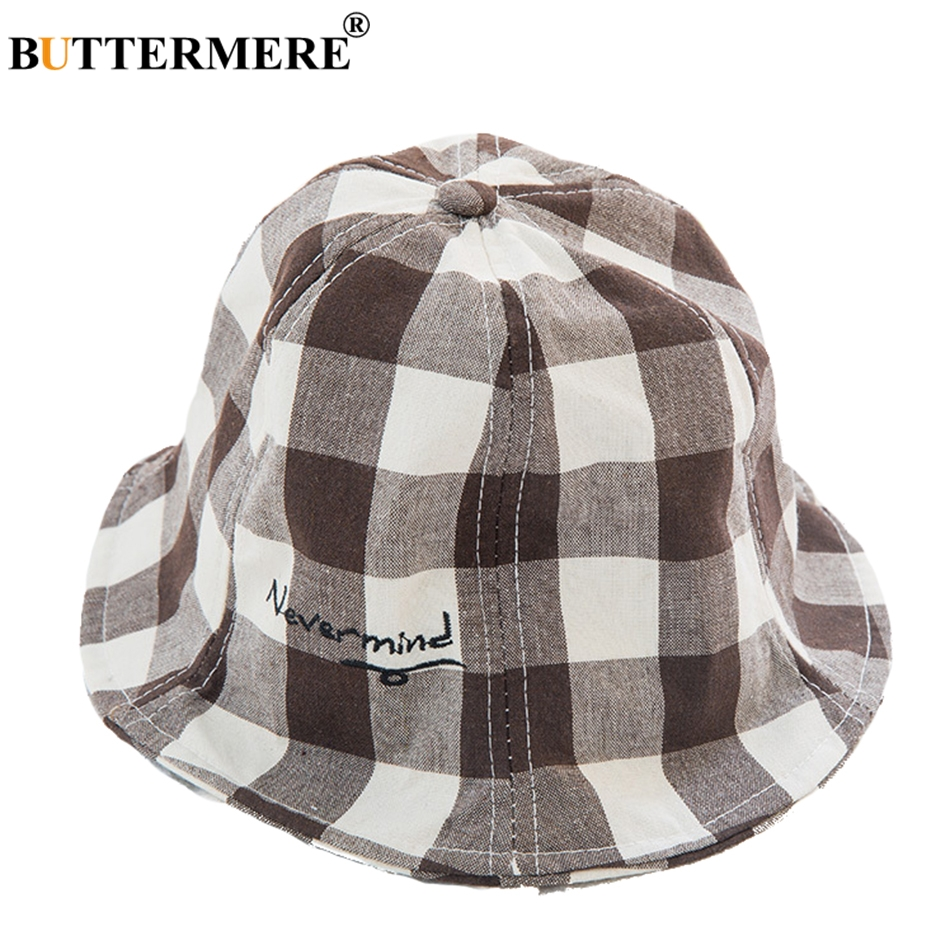 BUTTERMERE Bucket Hat For Girl Cotton Plaid Red Summer Beach Sun Hat Boys Foldable Uv Letter Classic Children Bob Fishing Cap