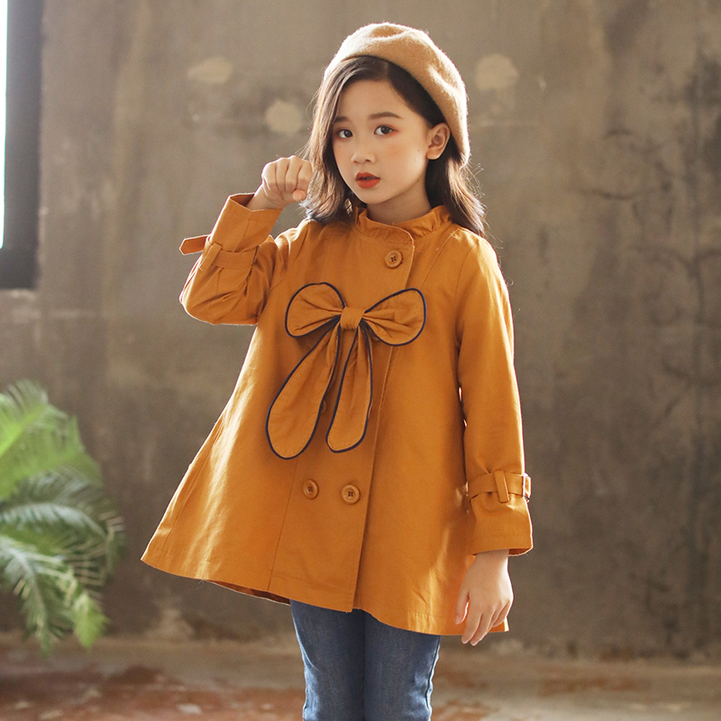 купить 2018 Girls Jacket Children's Clothing Big Kids Autumn Child Medium-long Double Breasted Baby Outerwear Toddler Girls Trench Coat по цене 2515.23 рублей