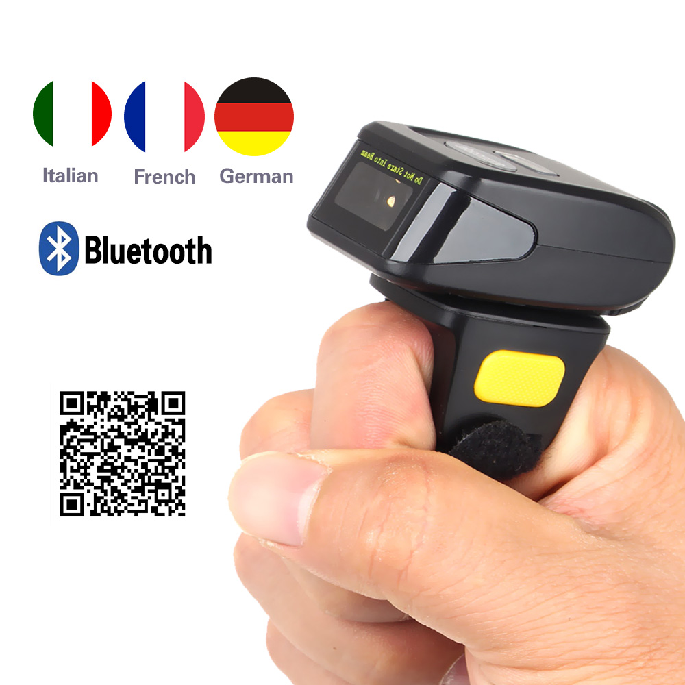 Symcode MJ-R30s Portable Bluetooth Wearable Ring 2D Scanner Barcode Scanner Reader with 300mA battery caribe pl 40l industrial pda mini portable nfc memory attendance rfid android integrated with gps 1d barcode scanner