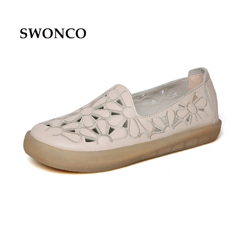 SWONCO Women's Flats Shoes Spring Genuine Leather Ladies Shoe Women Shoes Casual Leather Loafers Woman Shoes Plus Size 33-43