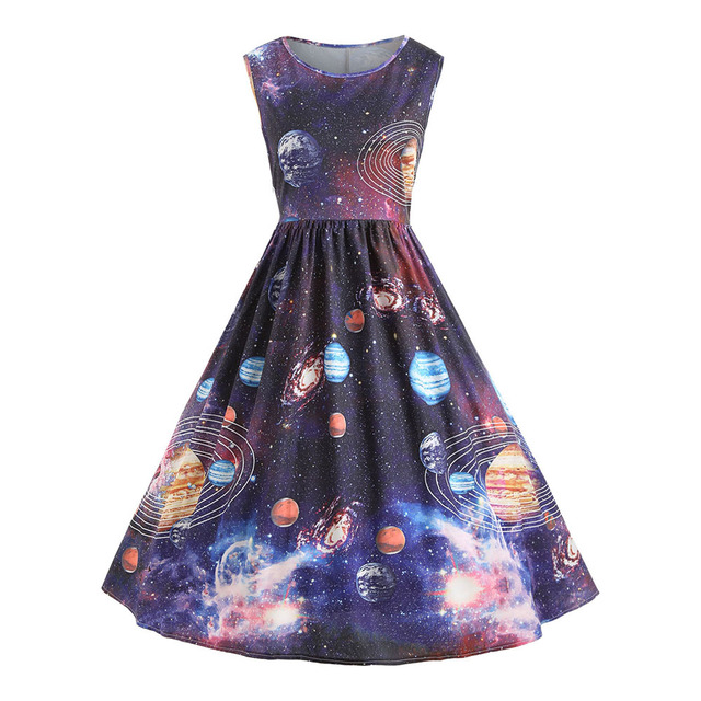 4156d9ad3 2018 Vintage Starry Sky Planet Space Dress Elegant Winter Dress Cute  Sleeveless Party Midi Dress For Girl Vestido Femme