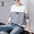 Toyouth T-Shirt 2017 Spring Women Stripe Letter Embroidery Casual Batwing Sleeve O-Neck Tees Tops