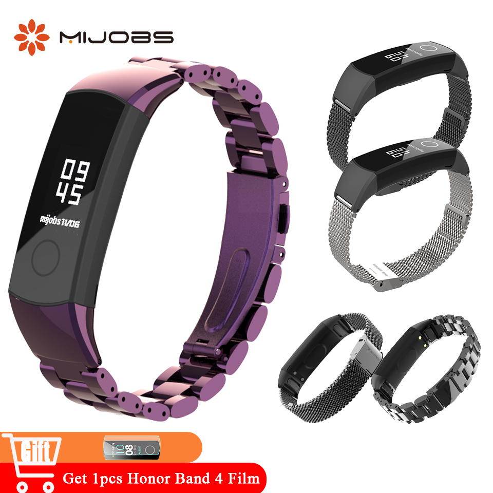 Mijobs Metal Wrist Strap For Huawei Honor Band 4 Bracelet Stainless Steel Accessories For Honor Band 4 NFC Honor Band 5 Strap