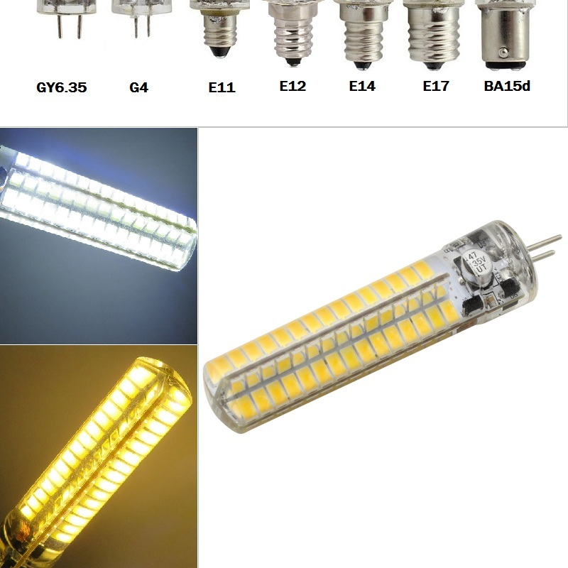 SMD Super bright silicone <font><b>LED</b></font> <font><b>light</b></font> Dimmable 5730 BA15D/E11/E12/E14/E17/<font><b>G4</b></font>/GY6.35 Corn lamp 12-<font><b>24V</b></font> 120LEDs <font><b>Led</b></font> <font><b>bulb</b></font> image