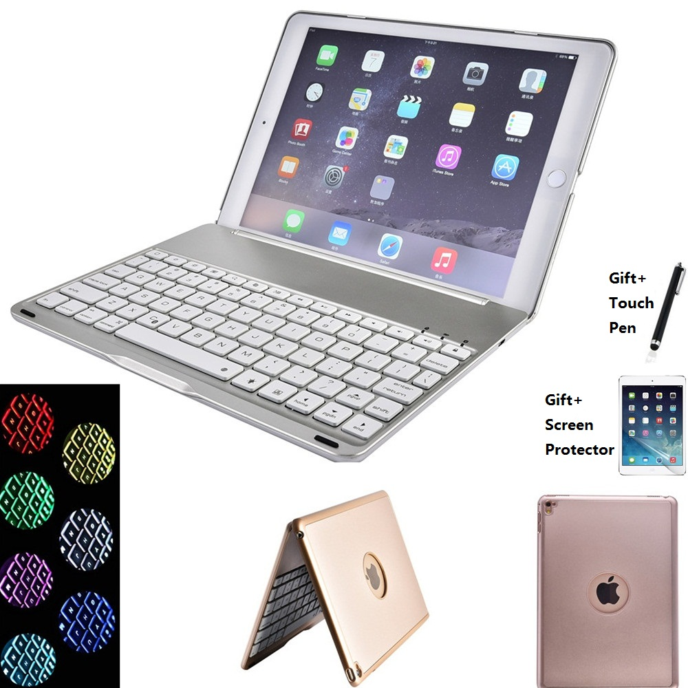 7 Colors Backlit Light Wireless Bluetooth Keyboard Case Cover For iPad New 2017 2018 9 7