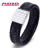 MOZO FASHION Jewelry Men Retro Bracelet Weave Leather Large Buckle Bracelets Bangles Man Black Exaggeration Bangle