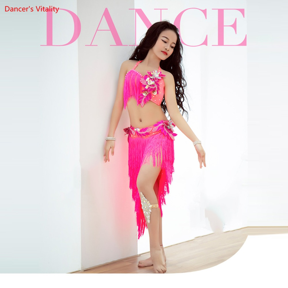 New Luxury Belly Dance Tassel Bra + Skirt Set 2 Pcs. For Children / Girls Naughty Handmade Belly Dancing Clothes