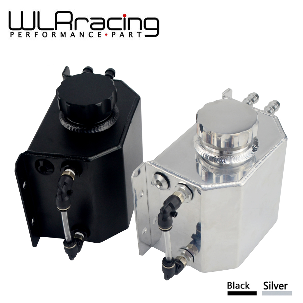 WLR RACING - Universal 1L Aluminum Oil Catch Can Reservoir Tank With Drain Plug Breather Oil Tank Fuel Tank WLR-TK57