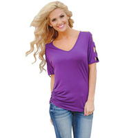 Womens Short Sleeve Tops Womens Clothing Summer Casual Tee Shirt Purple Hollow Out Open Shoulder T
