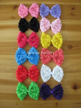 """Wholesale 12 Color 4.5"""" Big Rose Bows Chiffon Shabby Hair Bows Without Clips, Boutique DIY for Hair Accessory 120pcs/lot"""
