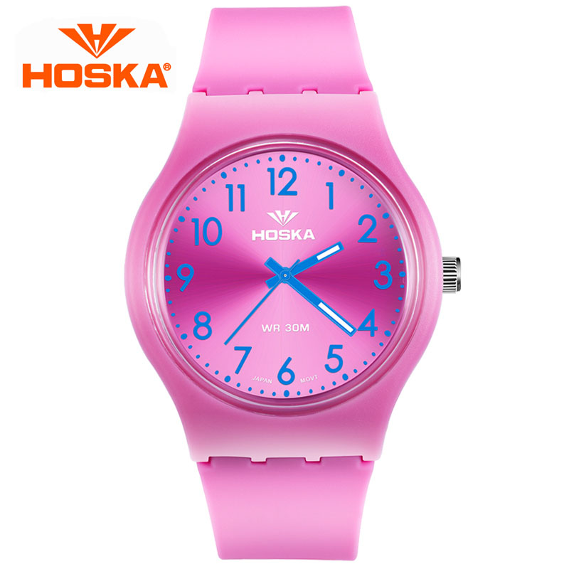 HOSKA Fashion Brand Children Quartz Watch Waterproof Jelly Kids Watches For boys girls Students Wristwatch 6 COLORS